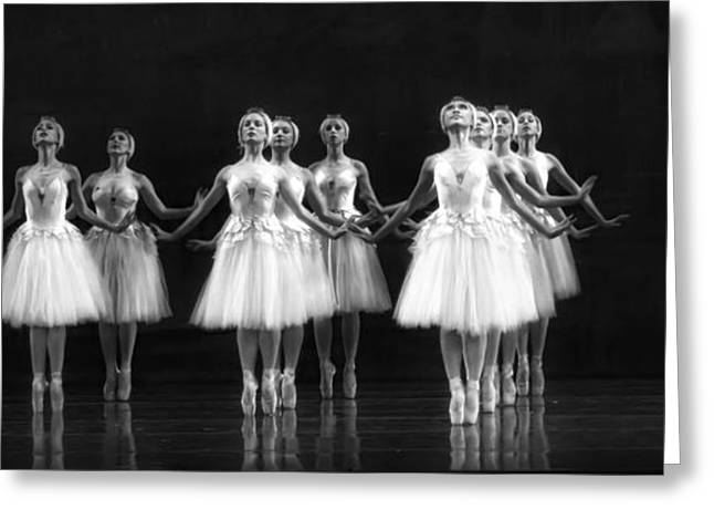 White Ballerina Greeting Cards - All In A Row Greeting Card by Kenneth Mucke