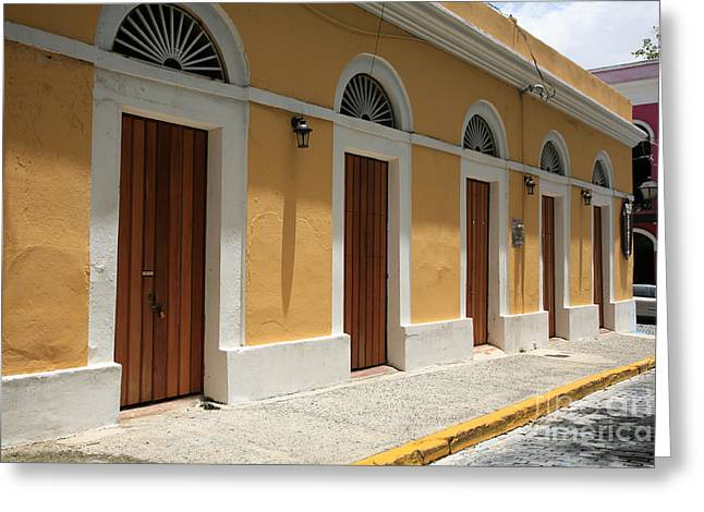 Old San Juan Greeting Cards - All in a Row Greeting Card by Timothy Johnson