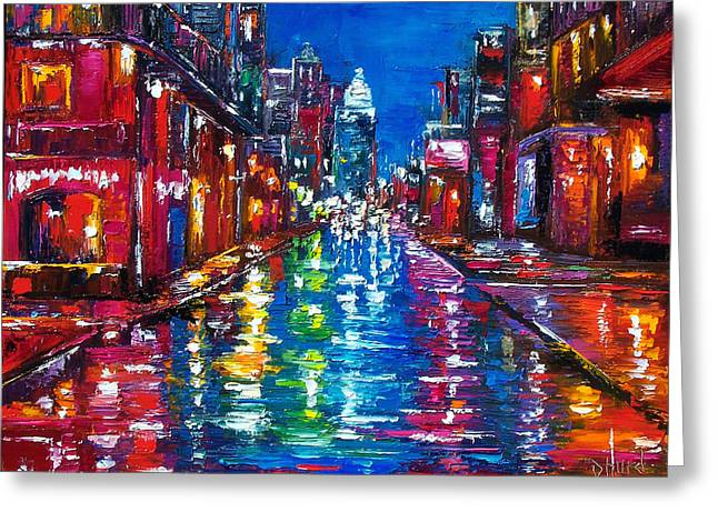 City Scenes Paintings Greeting Cards - All Night Long Greeting Card by Debra Hurd
