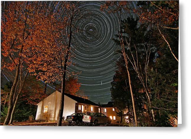 Startrails Greeting Cards - All Night Star Trails Greeting Card by Larry Landolfi