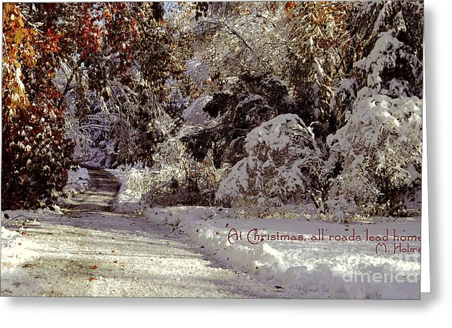 Weihnachten Greeting Cards - All Roads Lead Home Greeting Card by Sabine Jacobs