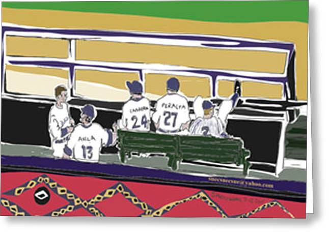 Baseball Fields Drawings Greeting Cards - All Star Dream Greeting Card by Susie Morrison