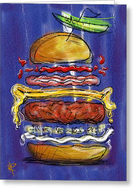 Hamburger Greeting Cards - All the fixings Greeting Card by Russell Pierce