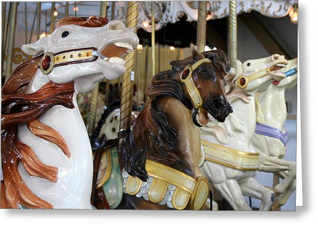 Looff Greeting Cards - All The Pretty Horses Greeting Card by Anne Babineau
