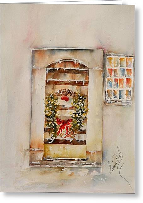 Christmas Card Greeting Cards - All Welcome Greeting Card by Lucia Del