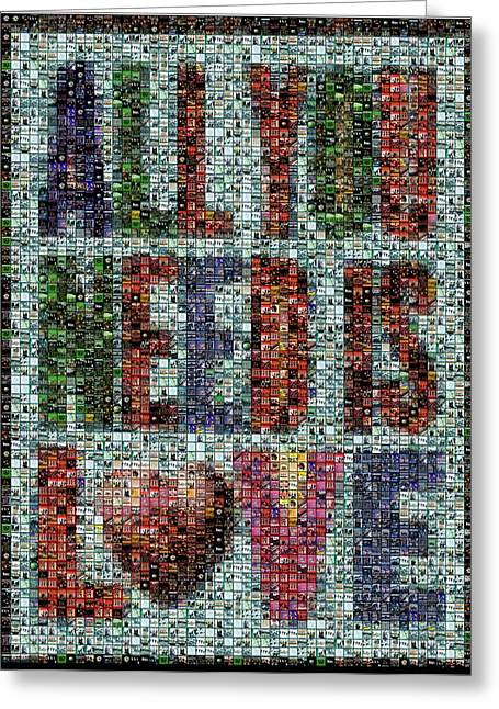 Beatles John Lennon Paul Mccartney George Harrison Ringo Starr Music Rock Icon Greeting Cards - All You Need IS Love Mosaic Greeting Card by Paul Van Scott