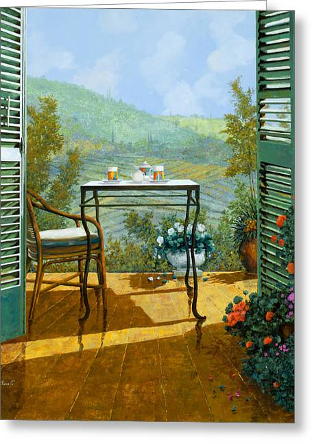 Wine Glasses Paintings Greeting Cards - Alle Dieci Del Mattino Greeting Card by Guido Borelli