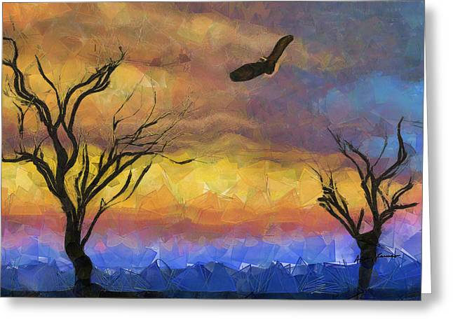 Macbre Greeting Cards - Allegorical Flight of Death Greeting Card by Anthony Caruso