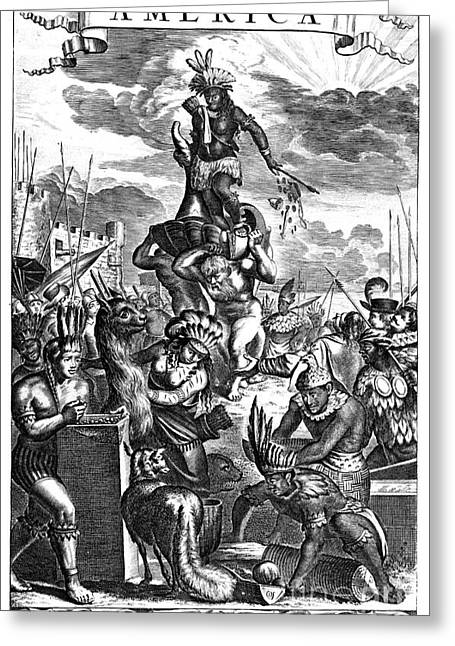 Book Title Greeting Cards - Allegory: America, 1673 Greeting Card by Granger