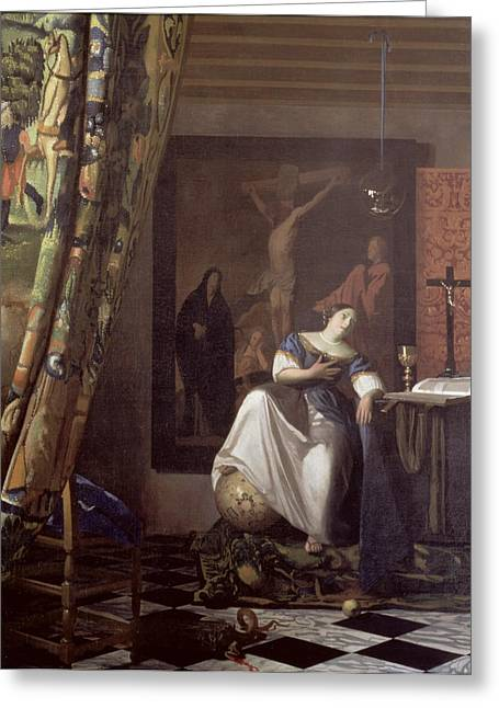 Vermeer Paintings Greeting Cards - Allegory of the Faith Greeting Card by Jan Vermeer