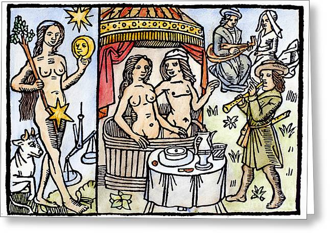 Romance Renaissance Greeting Cards - Allegory Of Venus, 1496 Greeting Card by Granger