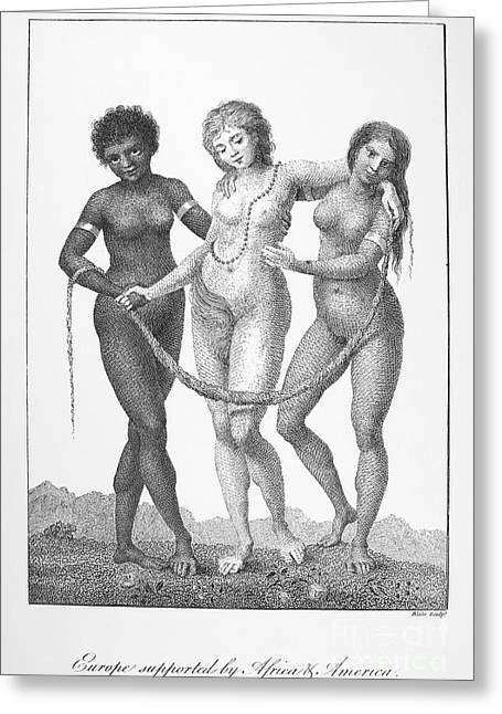 Negro Greeting Cards - Allegory: Slave Trade, 1796 Greeting Card by Granger