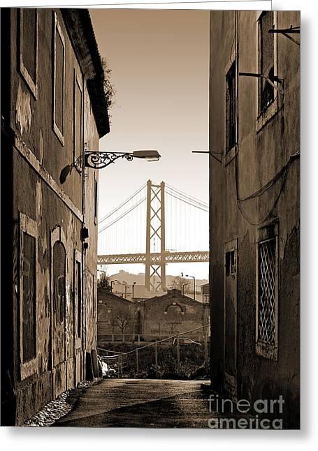 Alley And Bridge Greeting Card by Carlos Caetano
