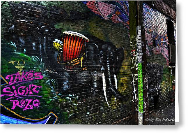 Wesley Allen Photography Greeting Cards - Alley Art 10 Greeting Card by Wesley Allen Shaw