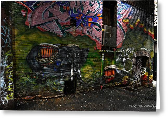 Wesley Allen Photography Greeting Cards - Alley Art 11 Greeting Card by Wesley Allen Shaw