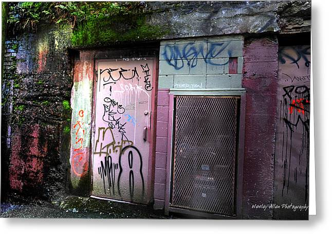 Wesley Allen Photography Greeting Cards - Alley Art 3 Greeting Card by Wesley Allen Shaw