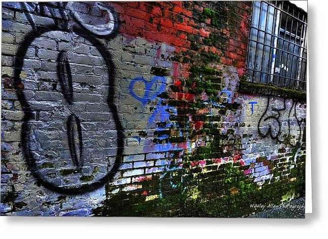 Wesley Allen Photography Greeting Cards - Alley Art 4 Greeting Card by Wesley Allen Shaw