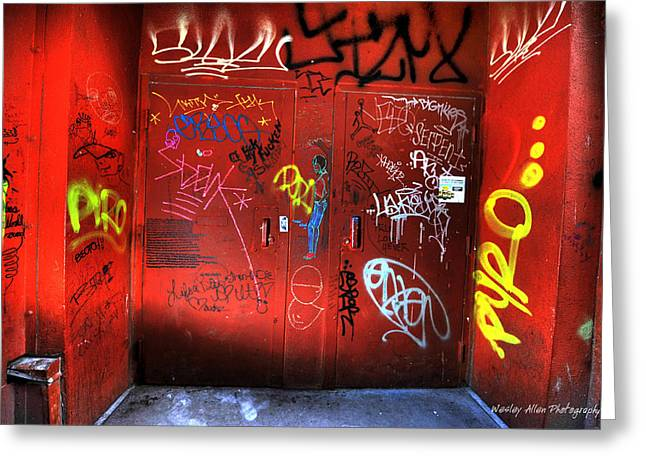 Wesley Allen Photography Greeting Cards - Alley Art 8 Greeting Card by Wesley Allen Shaw