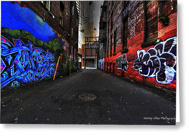 Wesley Allen Photography Greeting Cards - Alley Art 9 Greeting Card by Wesley Allen Shaw