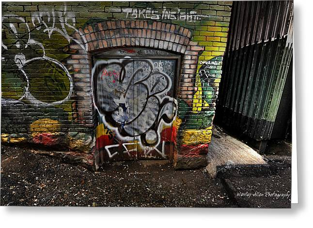 Wesley Allen Photography Greeting Cards - Alley Art12 Greeting Card by Wesley Allen Shaw