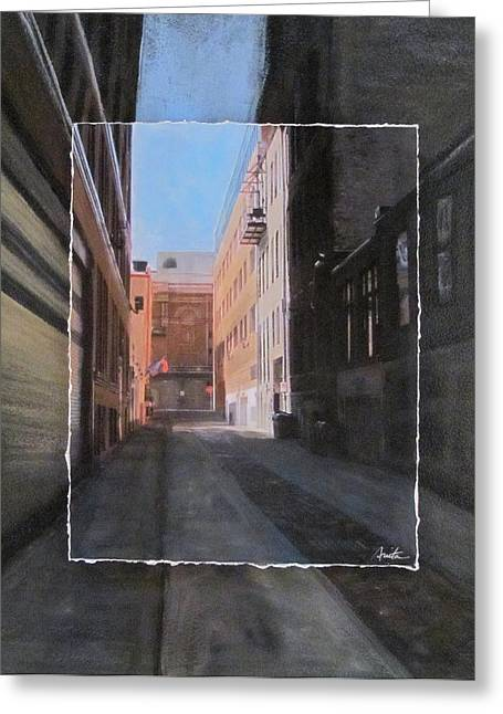 Stone House Mixed Media Greeting Cards - Alley Front Street layered Greeting Card by Anita Burgermeister