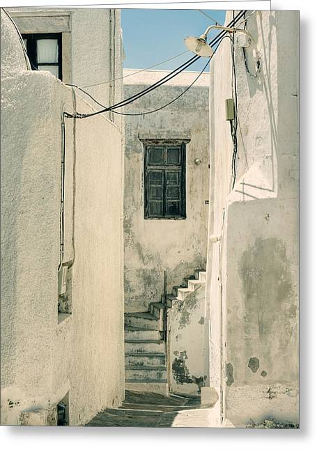 Labyrinth Greeting Cards - alley in Greece Greeting Card by Joana Kruse