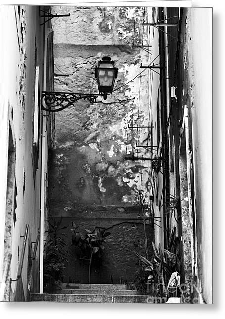 Alley Stairs Greeting Cards - Alley Light Greeting Card by John Rizzuto