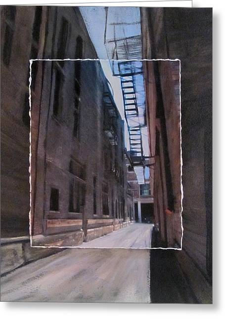 Brick Buildings Mixed Media Greeting Cards - Alley with Fire Escape layered Greeting Card by Anita Burgermeister