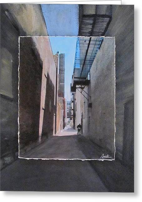 Brick Buildings Mixed Media Greeting Cards - Alley with Guy Reading layered Greeting Card by Anita Burgermeister
