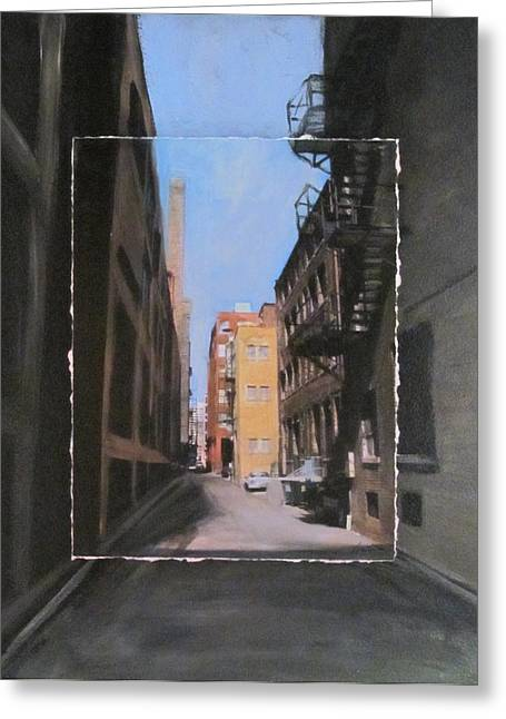 Brick Buildings Mixed Media Greeting Cards - Alley with red and tan buildings layered Greeting Card by Anita Burgermeister