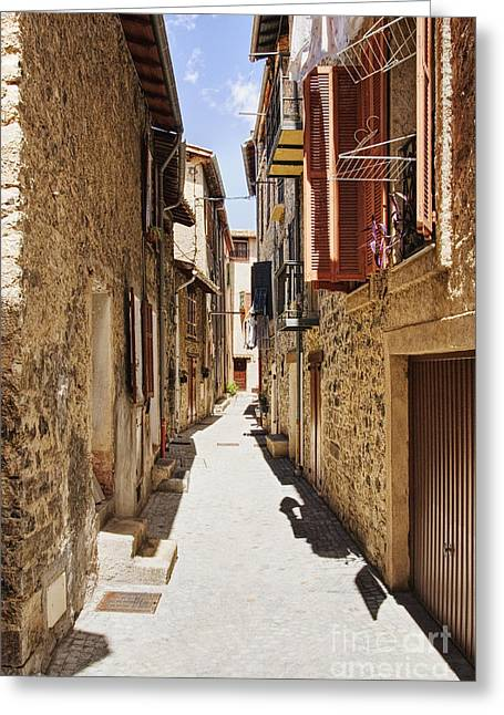 Southern France Greeting Cards - Alleyway in France Greeting Card by Jon Boyes