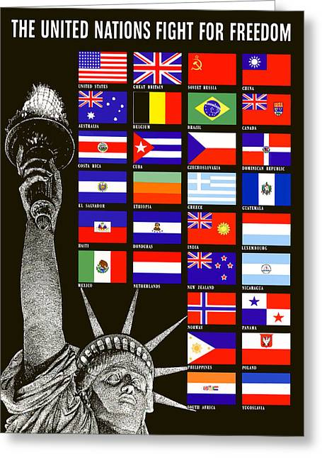 Statue Greeting Cards - Allied Nations Fight For Freedom Greeting Card by War Is Hell Store