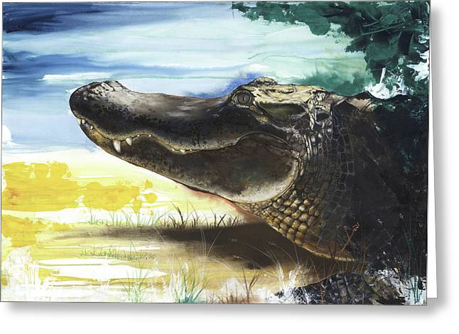 African-american Mixed Media Greeting Cards - Alligator Greeting Card by Anthony Burks Sr