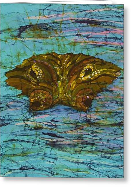 Fine Art Tapestries - Textiles Greeting Cards - Alligator Eyes Fine Art Batik Greeting Card by Kay Shaffer