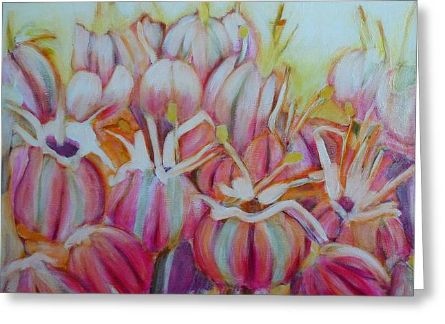 North Vancouver Paintings Greeting Cards - Allium Flower Greeting Card by Sandrine Pelissier