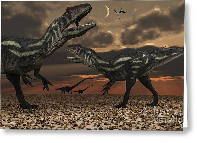 Primeval Greeting Cards - Allosaurus Dinosaurs Stalk Their Next Greeting Card by Mark Stevenson