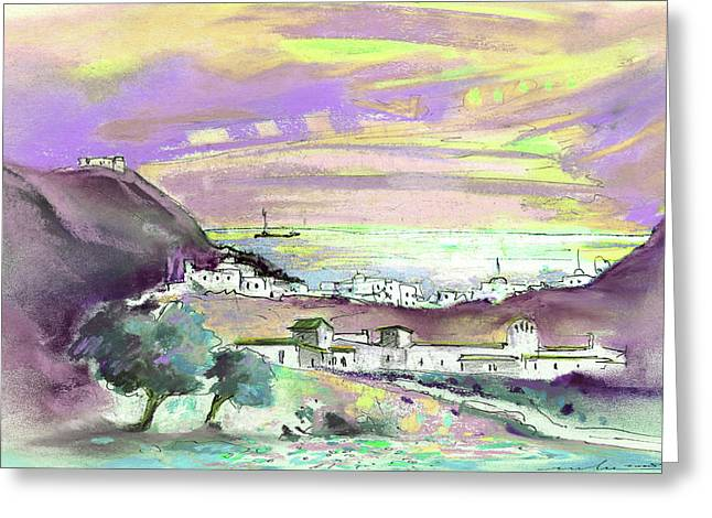 Mediterranean Landscape Drawings Greeting Cards - Almeria Region in Spain 04 Greeting Card by Miki De Goodaboom
