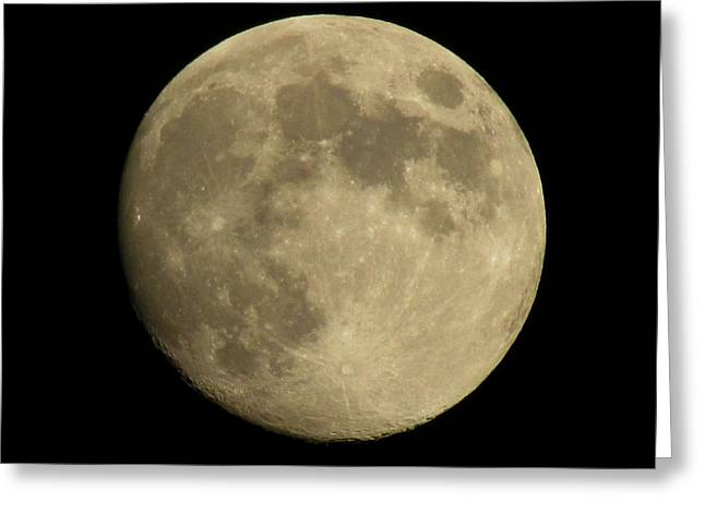 Neil Armstrong The Moon Greeting Cards - Almost a blue moon Greeting Card by Trish Clark