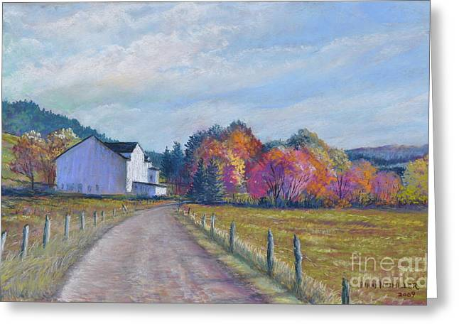 Autumn In The Country Pastels Greeting Cards - Almost Home Greeting Card by Penny Neimiller