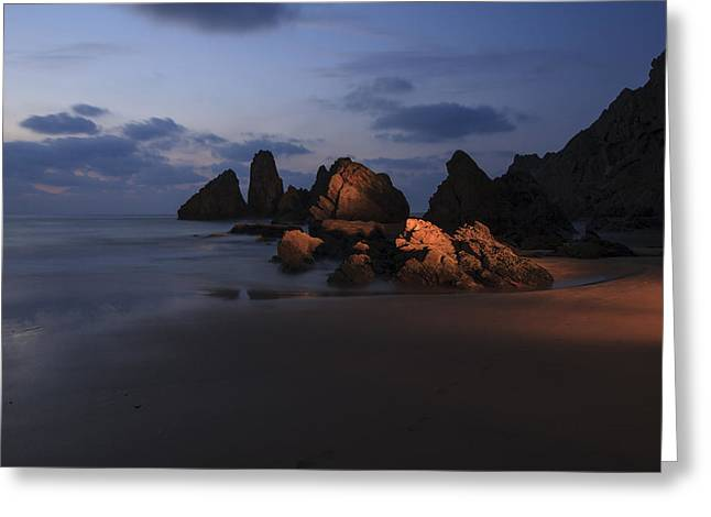Pais Vasco Greeting Cards - Almost night in Laga beach Greeting Card by Fernando Alvarez