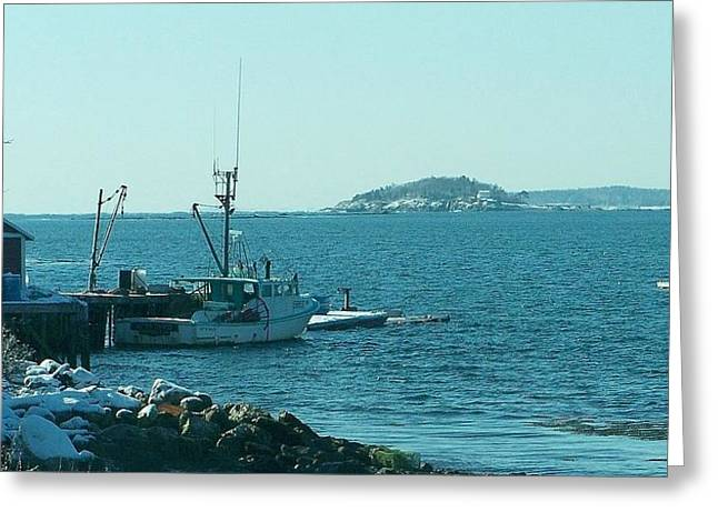 Lobsterboat Greeting Cards - Almost time to go fishing. Greeting Card by Clifford Bailey