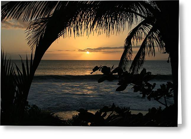 Aloha Aina the Beloved Land - Sunset Kamaole Beach Kihei Maui Hawaii Greeting Card by Sharon Mau