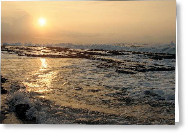 Oes Greeting Cards - Aloha Oe Sunset Hookipa Beach Maui North Shore Hawaii Greeting Card by Sharon Mau