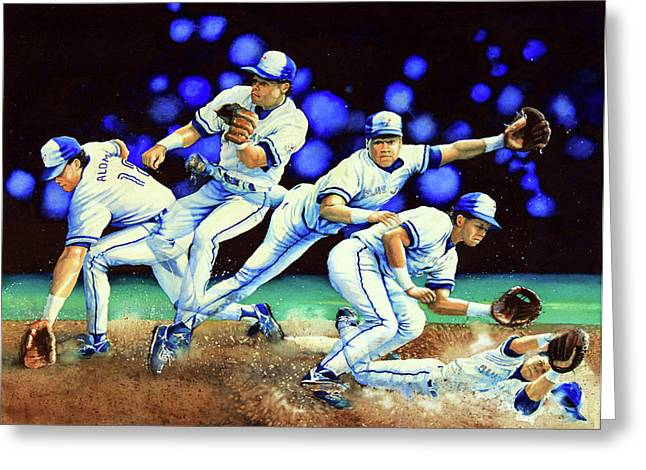 Baseball Art Greeting Cards - Alomar On Second Greeting Card by Hanne Lore Koehler