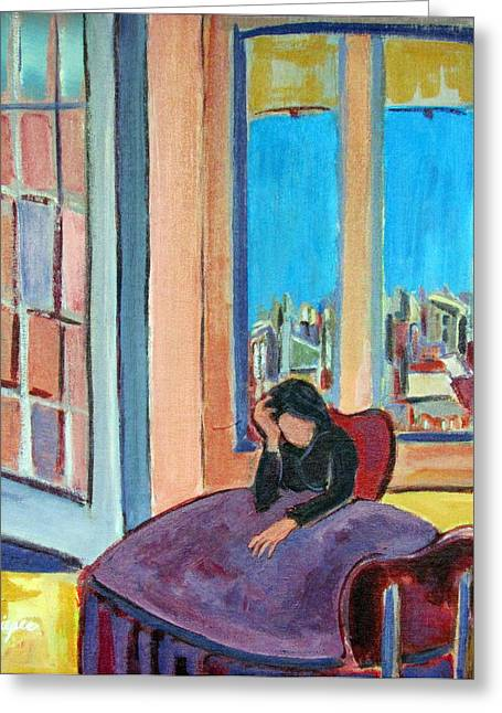 Woman At The Window Greeting Cards - Alone Greeting Card by Betty Pieper