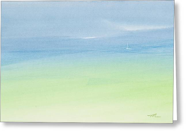 Ocean Sailing Greeting Cards - Alone in the Midst of Abundance Watercolor Painting Greeting Card by Michelle Wiarda