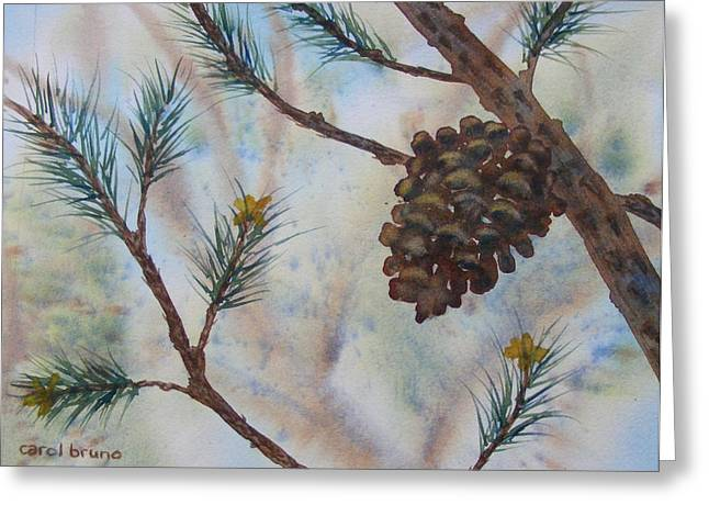 Pine Needles Paintings Greeting Cards - Alone in the Woods Greeting Card by Carol Bruno