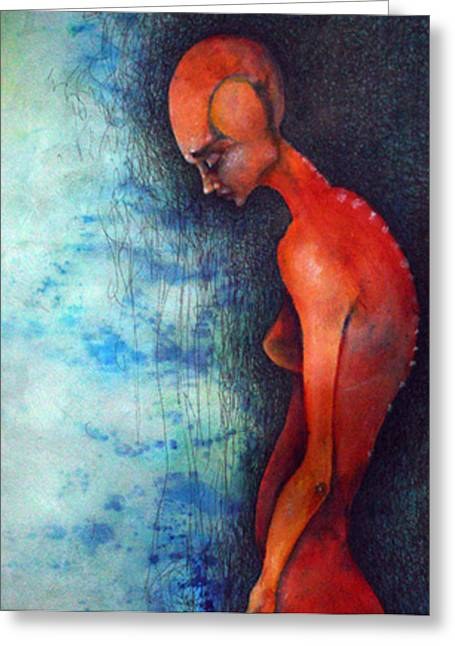 Figures Mixed Media Greeting Cards - Alone Greeting Card by Mark M  Mellon