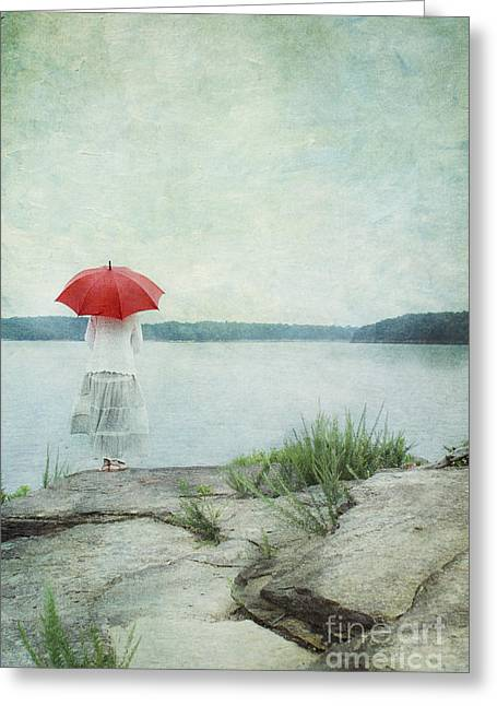 Long Skirt Greeting Cards - Alone Greeting Card by Stephanie Frey