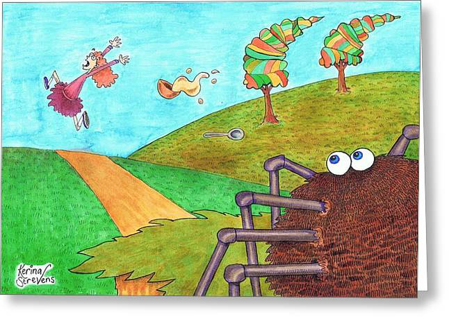 Nursery Rhyme Drawings Greeting Cards - Along Came a Spider Greeting Card by Kerina Strevens